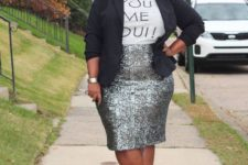 11 a silver sequin pencil knee skirt, a printed tee, a black jacket and hot pink shoes