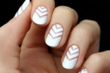 white chevron nails with negative space for a bold modern look