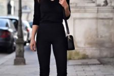 12 a black jumpsuit with blush heels and a black bag is ideal for any work, even with a dress code