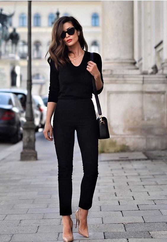 a black jumpsuit with blush heels and a black bag is ideal for any work, even with a dress code