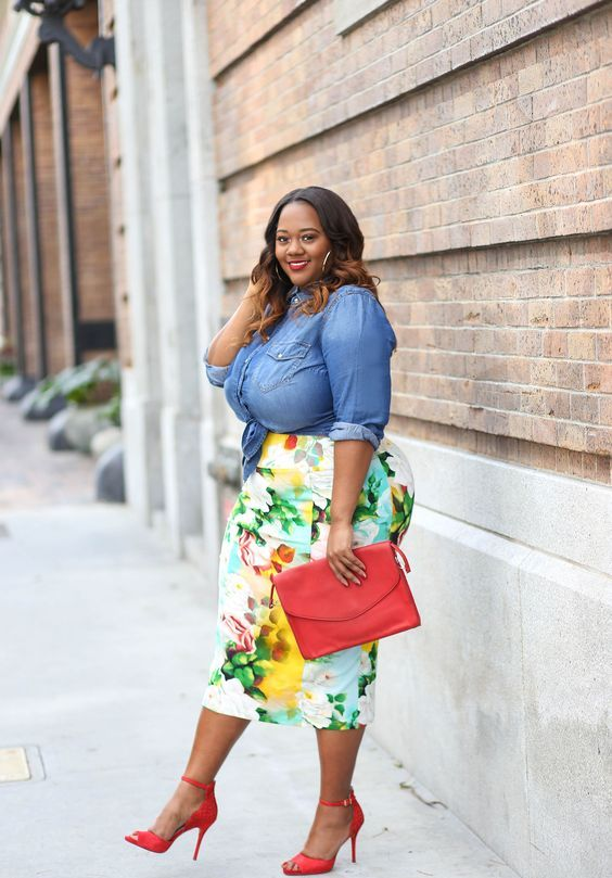 a chambray shirt, a bold floral pencil skirt, red shoes and a matching clutch to rock now