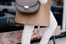 12 a grey Celine bag with a long strap and a white fluff is a cool and universal idea