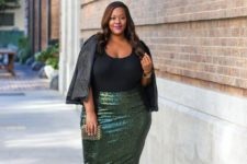 12 an emerald sequin knee skirt, a black top, metallic shoes and a black leather jacket for a party