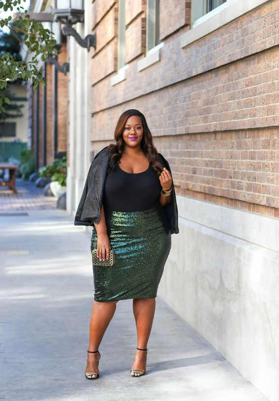 an emerald sequin knee skirt, a black top, metallic shoes and a black leather jacket for a party