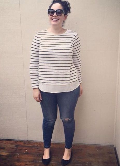 blue ripped skinnies, a striped top and black flats are a timeless weekend outfit to rock