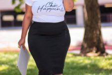 13 a black knee pencil skirt, a white printed tee, pink shoes and a white clutch for a casual look