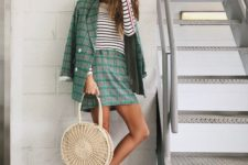 a relaxed look with straw bag