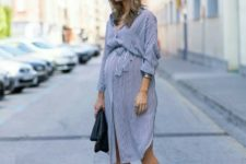 13 a gorgeous grey shirt dress with side slirts, long sleeves, a sash, red heels