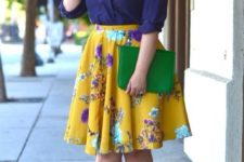 13 a purple shirt, a bold yellow floral skirt, silver shoes and a green clutch for spring