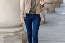 13 blue skinnies, an olive green tee and a tan suede cropped jacket