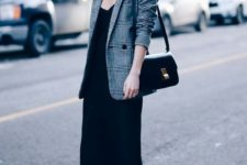 14 a black slip dress, black boots, a grey plaid blazer and a black bag for a simple chic look