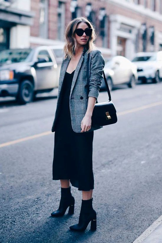 a black slip dress, black boots, a grey plaid blazer and a black bag for a simple chic look