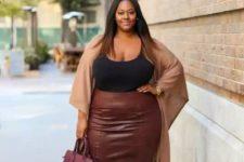 14 a black spaghetti strap top, a burgundy midi pencil skirt, a tan coverup and metallic shoes