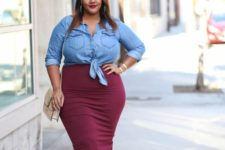 14 a burgundy midi pencil skirt, a chambray shirt, tan shoes and a tan bag for a casual look