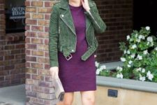 14 a plum dress, a green suede moto jacket and nude shoes for a color blocked look