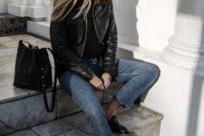 14 black loafers, grey raw hem denim, a black tee and a black leather jacket