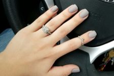 14 matte grey nails are perfect for many work spaces, they are neutral and stylish