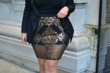 15 a black top, a black mini with a sheer gold overskirt, a black blazer and black heels