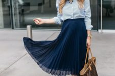 15 a chambray shirt, a navy pleated midi skirt, blush shoes, a statement necklace and a large bag