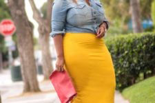 15 a yellow midi pencil skirt, a chambray shirt, red shoes and a clutch for a bold weekend look