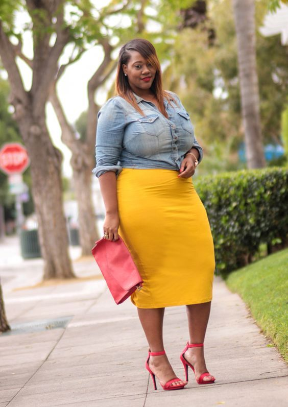 a yellow midi pencil skirt, a chambray shirt, red shoes and a clutch for a bold weekend look