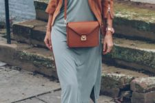 15 an olive green midi dress, a cognac-colored suede jacket and bag and blush booties