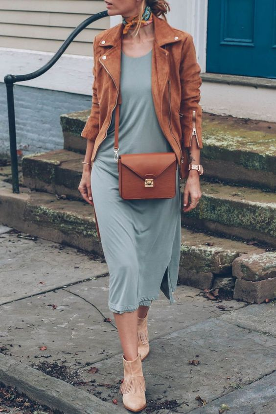 an olive green midi dress, a cognac colored suede jacket and bag and blush booties