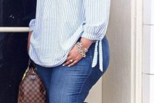 15 blue skinnies, nude heels, a blue and white striped off the shoulder top and statement earrings