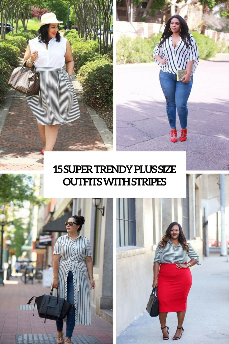 super trendy plus size outfits with stripes cover