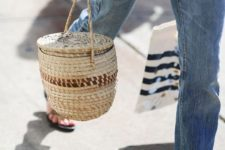 16 a barrel-shaped straw bag to accent a casual outfit and make it even more relaxed