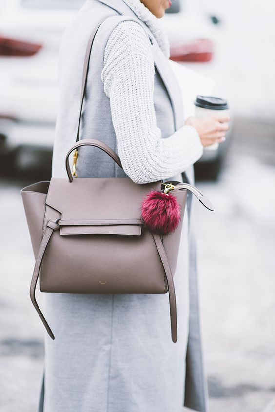 a tan Celine belt bag is a nice basic option for work and dates