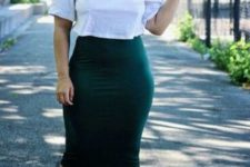 16 an emerald pnecil knee skirt, a white tee, blush shoes for a romantic yet casual look