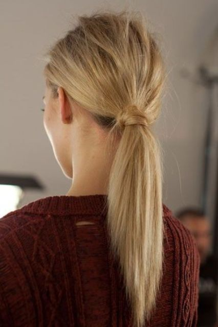 give your ponytail a messy touch to look more casual