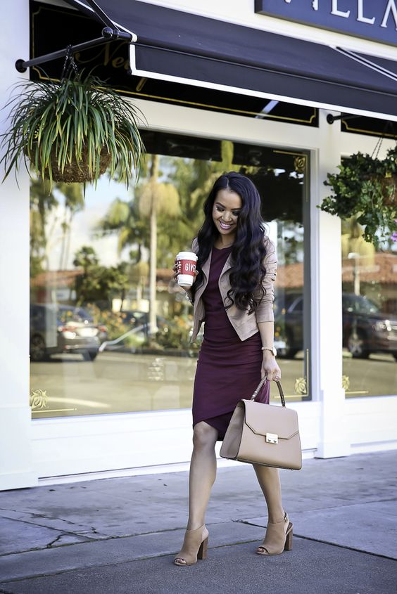 nude mules, a burgundy dress, a blush bag and a blush suede jacket to wear to work