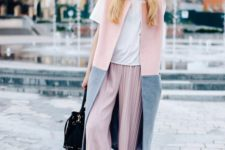 16 pink pleated pants, a white tee, black strappy heels, a color block grey and pink long vest