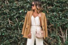 16 white culottes and a top, leopard shoes, a tan jacket and a blush bag