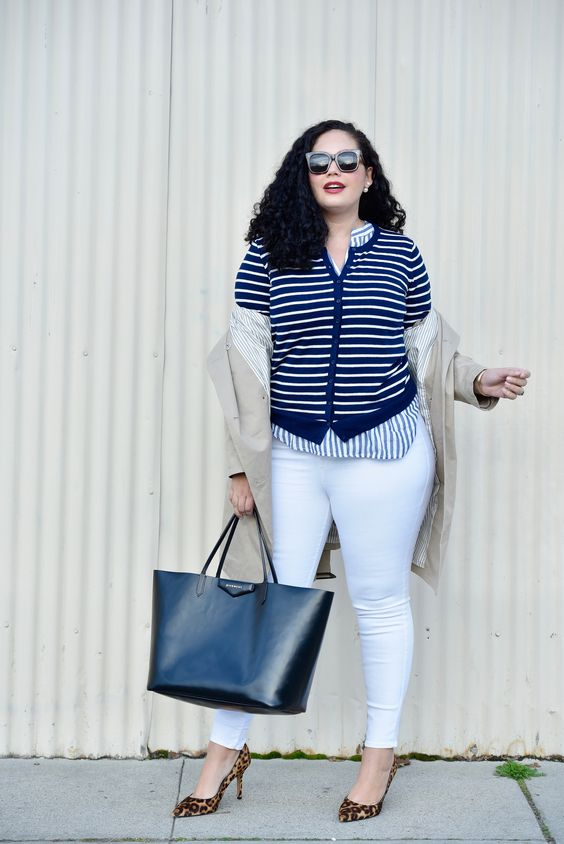 curvy girl's look with leopard shoes