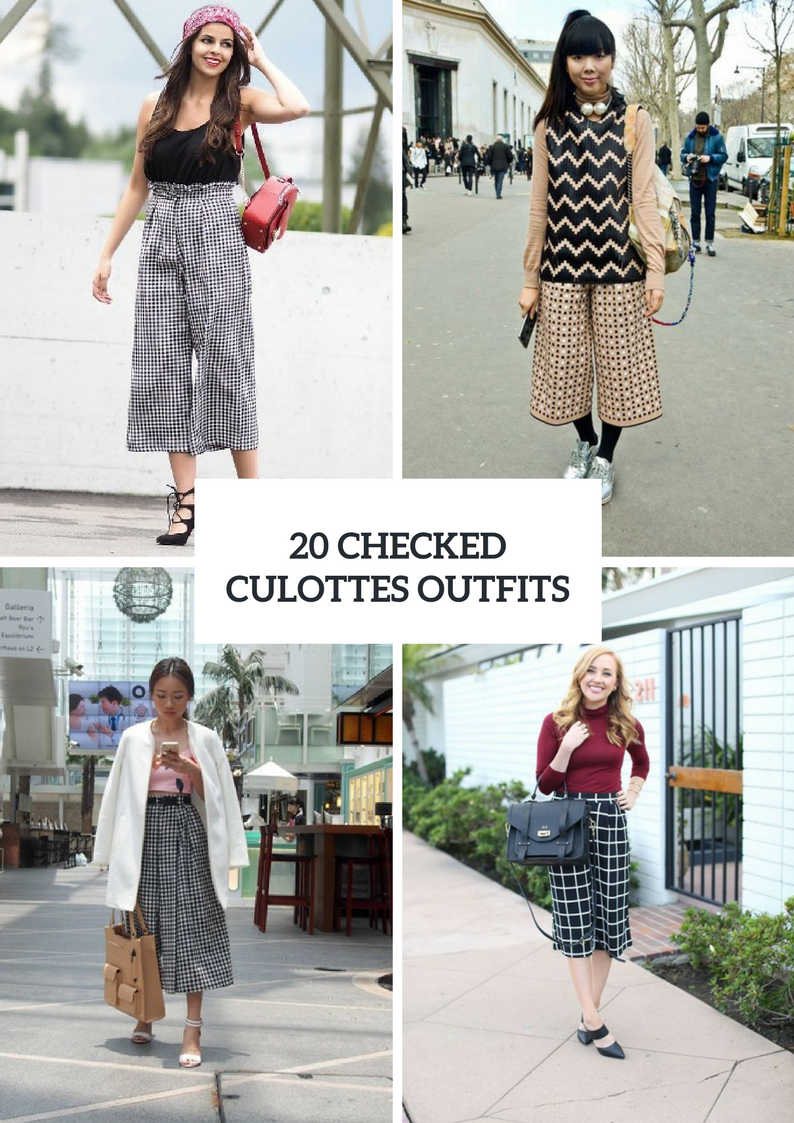 Outfits With Checked Culottes To Repeat
