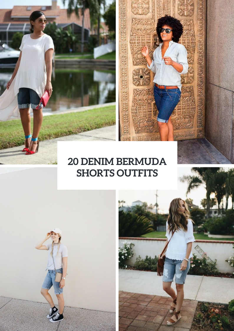 Outfits With Denim Bermuda Shorts