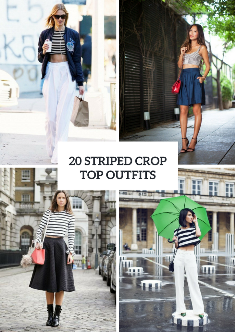 Outfits With Striped Crop Tops