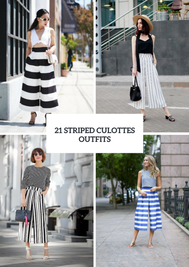 21 Spring Outfit Ideas With Striped Culottes