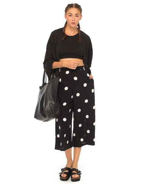 With black crop top, black cardigan, tote and sandals
