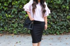With black pencil skirt, beige sandals and black bag