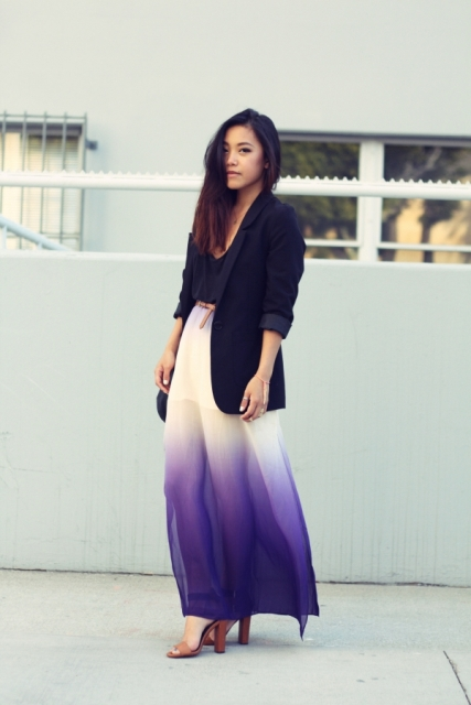 With black top, black long blazer and brown heels