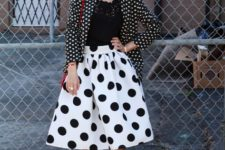 spring look with polka dot skirt
