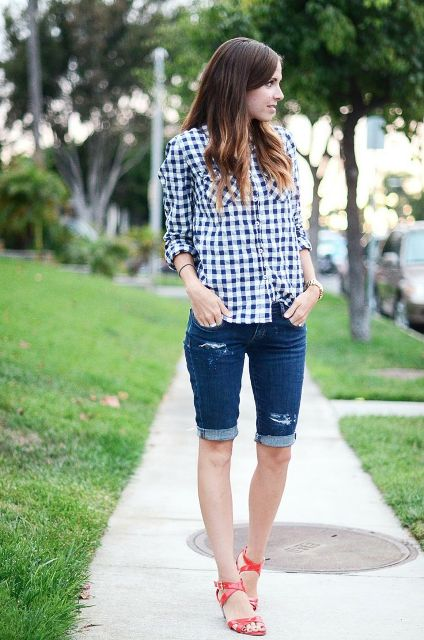 With checked shirt and red sandals