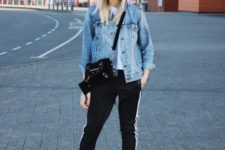 With denim jacket, pants, small bag and pumps