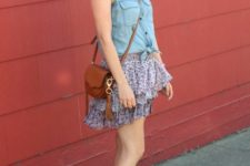 With denim shirt, white shoes, brown bag and hat