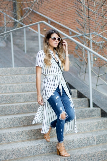With distressed jeans, beige shoes and crossbody bag