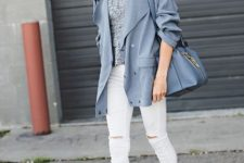 With gray blouse, gray blazer, white skinny pants, sandals and bag